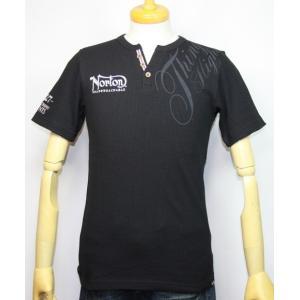 Norton ノートン 服 サーマルYネックヘンリー半袖Tシャツ 192N1011【ブラック】(1989)新品/送料無料|arches