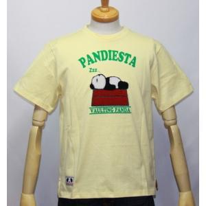 和柄/錦 パンダ( PANDIESTA JAPAN) スリーピングパンディエスタ半袖Tシャツ (品番525220)【クリームイエロー】(1604)新品/送料無料|arches