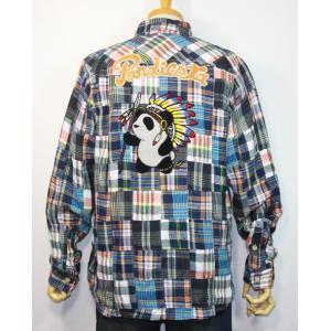 PANDIESTA JAPAN(パンディエスタ)ネイティブパンダ パッチワーク長袖チェックネルシャツ 598204【ブルー系】(1908)新品 送料無料|arches
