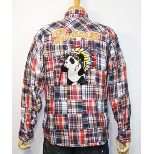 PANDIESTA JAPAN(パンディエスタ)ネイティブパンダ パッチワーク長袖チェックネルシャツ 598204【レッド系】(1907)新品 送料無料|arches