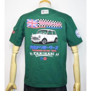 カミナリモータース KAMINARI(カミナリ) 雷 エフ商会 旧車 『Classic 3298 ミニクーパー』半袖Tシャツ KMT-186【グリーン】(1978)新品|arches
