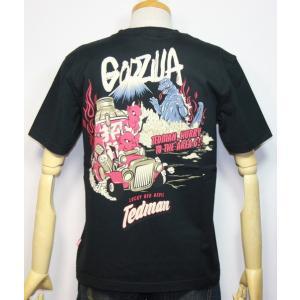 エフ商会・TEDMAN ・テッドマン×ゴジラ(Godzilla) コラボ 半袖Tシャツ TDGZ-100【ブラック】(1818)新品 送料無料|arches