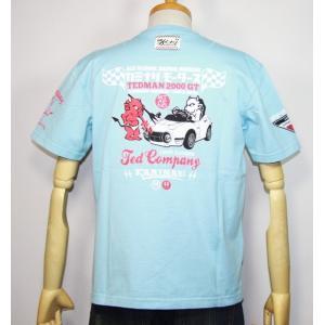 カミナリモータース×TEDMAN(テッドマン)コラボ・エフ商会 半袖Tシャツ『2000GT風キッズカー』 TDKMT-13【サックス】(1959)新品|arches