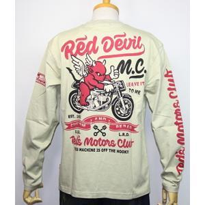 エフ商会・TEDMAN'S ・テッドマン  『RED DEVIL M・C 』バイク柄長袖Tシャツ TDLS-331【ベージュ】(2114)新品/送料無料|arches