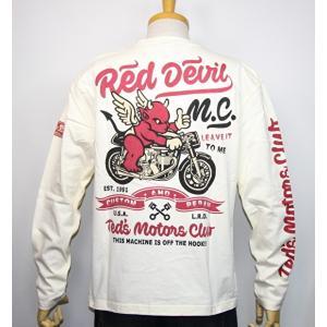 エフ商会・TEDMAN'S ・テッドマン  『RED DEVIL M・C 』バイク柄長袖Tシャツ TDLS-331【ホワイト】(2112)新品/送料無料|arches