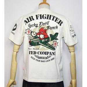 エフ商会・TEDMAN'S ・テッドマン AIR FIGHTER(飛行機)ラッキーデビルパンチ半袖Tシャツ TDSS-473【ホワイト】(1819)新品|arches
