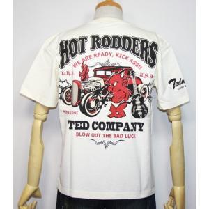 エフ商会・TEDMAN'S ・テッドマンHOT RODDERS(TED COMP ANY)半袖Tシャツ TDSS-475【ホワイト】(1826)新品|arches
