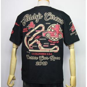 エフ商会・TEDMAN'S ・テッドマン  クラシックカーレース(TEDDY's CIRCUIT 400マイル)半袖Tシャツ TDSS-491【ブラック】(2070)新品|arches