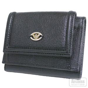 BAN24 エンポリオアルマーニEMPORIO ARMANI 黒シボ革外側小銭入れ付き3折財布(箱無し)