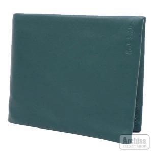 ポールスミス Paul Smith 2折財布 二つ折り 二つ折財布 ターコイズ グリーン 羊革 ラム...