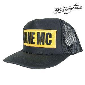 【Nine Microphons】  - 9MC BOX LOGO - CAP ボックスロゴ キャップ Black/Mustard  【ナインマイクロフォンズ】|archrival