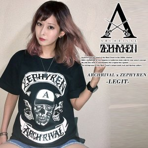 ARCHRIVAL x ZEPHYREN -LEGIT BLACK 半袖Tシャツ ブラック 黒 ゼファレン|archrival