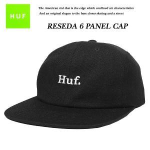 HUF RESEDA 6 PANEL BLACK 6 パネル キャップ ブラック 黒 ハフ|archrival