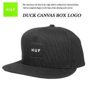HUF DUCK CANVAS BOX LOGO SNAP BACK CAP BLACK  ダック キャンバス ボックス ロゴ スナップバック キャップ ブラック 黒 ハフ|archrival