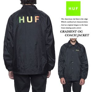HUF GRADIENT OG COACHES JACKET BLACK グラディエント コーチ ジャケット ブラック 黒 ハフ archrival