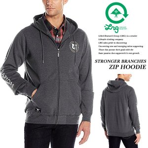 STRONGER BRANCHES ZIP HOODIE CHARCOAL|archrival