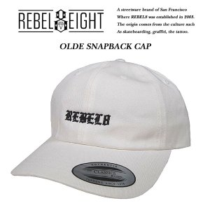 REBEL8 OLDE STRAPBACK CAP WHITE オールディ ストラップバック キャップ ホワイト レベルエイト|archrival