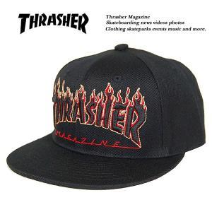 Thrasher FLAME LOGO SNAPBACK CAP BLACK x YELLOW フレームロゴ スナップバック キャップ ブラック x イエロー 黒 x 黄 スラッシャー|archrival