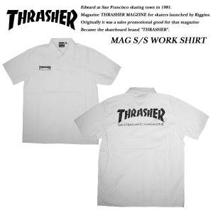 THRASHER SHORT SLEEVE WORK SHIRT WHITE 半袖 ワークシャツ ホワイト 白 スラッシャー|archrival
