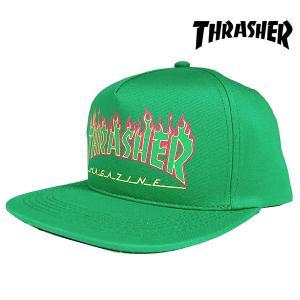 Thrasher FLAME LOGO STRUCTURED SNAPBACK CAP GREEN フレームロゴ スナップバック キャップ グリーン 緑 USライン スラッシャー|archrival