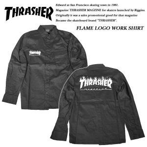 THRASHER FLAME LOGO WORK SHIRT BLACK|archrival