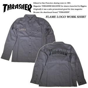 THRASHER FLAME LOGO WORK SHIRT CHARCOAL|archrival