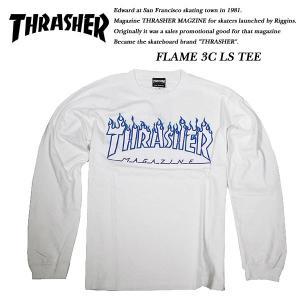THRASHER FLAME L/S TEE WHITE / WHITE|archrival