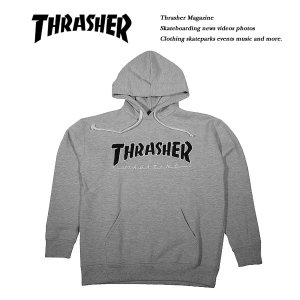 THRASHER HOMETOWN emb. HOODIE HEATHER GRAY|archrival