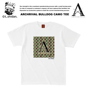 【t_shodan】ARCHRIVAL x BULLDOG CAMO COLLABO TEE WHITE アーチライバル x ブルドッグカモ柄 コラボ Tシャツ ホワイト 【ティーシダン】 archrival