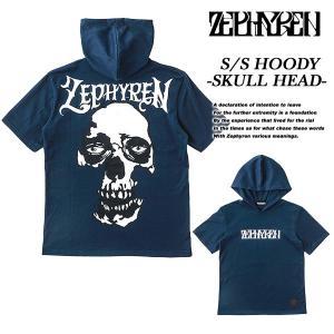 Zephyren S/S HOODY -SKULL HEAD- NAVY|archrival