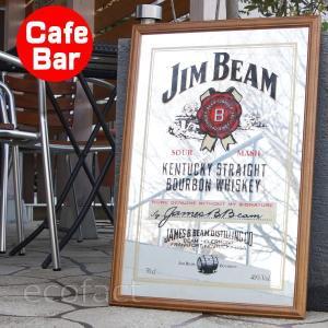 パブミラー ウォールミラー バーミラー 壁掛け鏡 パブサインミラー ジムビーム ロゴ (Jim Beam  ウイスキー バーグッズ bar 男前 インテリア 雑貨)|area27