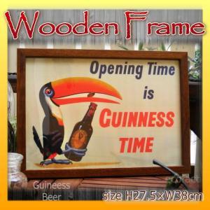 ピクチャーフレーム Guinness Time ギネスビール トゥーカン 27.5×38cm 木製額縁 フォトフレーム  写真立て アンティーク看板 おしゃれ 壁掛けパネル 壁飾り|area27