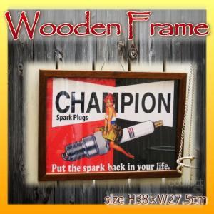 ピクチャーフレーム チャンピオン スパークプラグ 27.5×38cm 木製額縁 フォトフレーム  写真立て アンティーク看板 おしゃれ 壁掛けパネル 壁飾り レトロ|area27