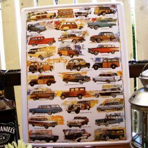 ブリキ看板 サインプレート アメ車ワゴン WAGONS オールドアメリカ アイアン アンティーク 壁掛け 壁飾り レトロ ティンサイン ウォールサイン|area27
