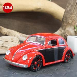 ミニカー 模型 1/24スケール 1959 フォルクスワーゲン ビートル レッド/ブラック JADA製ダイキャスト  (59 VOLKSWAGEN Beetle)|area27