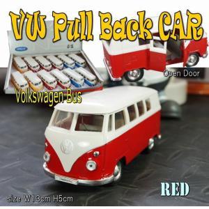 プルバックミニカー フォルクスワーゲン ワゴン バス  レッド 1/36 旧車 模型 男前 インテリア 雑貨|area27