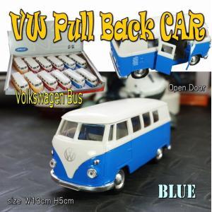 プルバックミニカー フォルクスワーゲン ワゴン バス  ブルー 1/36 旧車 模型 男前 インテリア 雑貨|area27