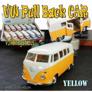 プルバックミニカー フォルクスワーゲン ワゴン バス  イエロー 1/36 旧車 模型 男前 インテリア 雑貨|area27