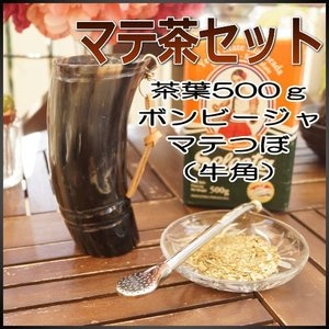 マテ茶 茶器 3点セットG ティーセット マテ茶カップ・ストローセット販売 飲み方作法ガイド付き (ボンビージャ18cm 牛の角マテつぼ 茶葉500g) area27