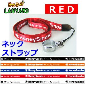 レターパックOK ハニースモーク用オリジナル ネックストラップ レッド ランヤード 首ひも (Honey Smoke 電子たばこ 電子タバコ)|area27