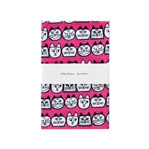 リサラーソン ねこのかお その2 捺染てぬぐい ピンク  LISA LARSON TENUGUI cats face 2 pink / おしゃれ|arenot