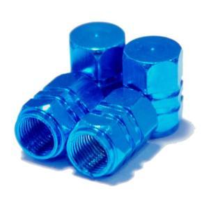 【Areyss】汎用 アルミエアバルブキャップ ナット型2ライン 4個セットパッケージ版(青 ブルー) 140827|areyss-edivision