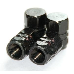 【Areyss】汎用 アルミエアバルブキャップ ナット型2ライン 4個セットパッケージ版(黒 ブラック) 140828|areyss-edivision