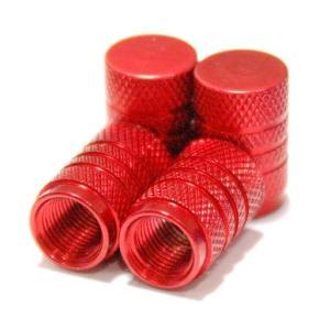 【Areyss】汎用 アルミエアバルブキャップ 円筒型 4個セットパッケージ版(赤 レッド) 140836|areyss-edivision
