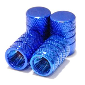 【Areyss】汎用 アルミエアバルブキャップ 円筒型 4個セットパッケージ版(青 ブルー) 140837|areyss-edivision