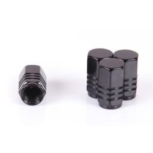【Areyss】汎用 アルミエアバルブキャップ ナット型3ライン 4個セットパッケージ版(黒 ブラック) 140914|areyss-edivision