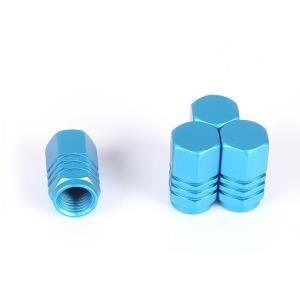 【Areyss】汎用 アルミエアバルブキャップ ナット型3ライン 4個セットパッケージ版(青 ブルー) 140916|areyss-edivision
