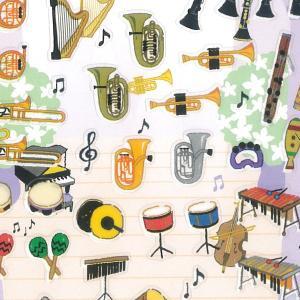 プチマークシール 楽器 / 可愛い 音楽 金箔押し加工 スケジュール帳 日記 デコ Petit Ma...