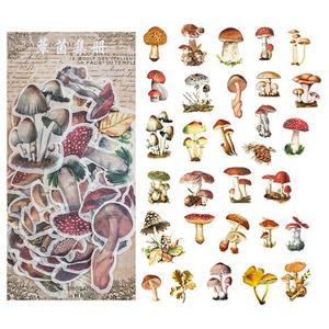 海外シール 「蕈菌集册」 20柄60枚入 / キノコ きのこ コラージュ レトロ スクラップブック ...