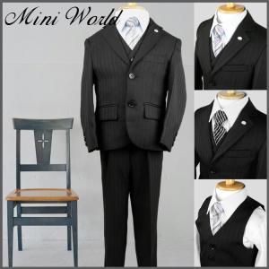 スーツ フォーマル 男の子 5点セット 入学 卒業 黒 ストライプ ariafrere